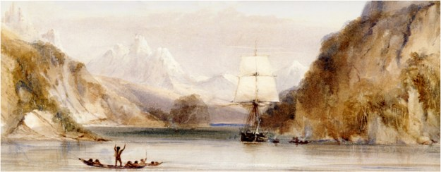 HMS Beagle i Murray Narrow, Beagle Channel, Tierra del Fuego. Akvarel af Conrad Martens (1801-1878).