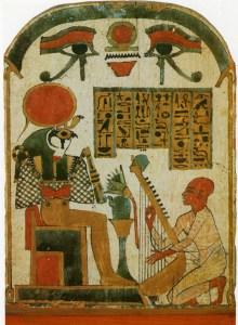 Guden Re Horakhty til hvem harpespilleren dedikerer sin musik.