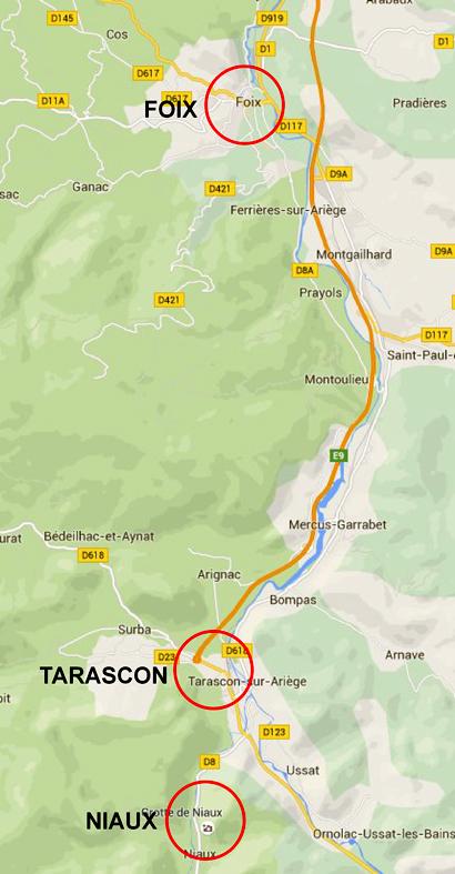 Kortet viser beliggeheden af Tarascon i forhold til Niaux-grotten og byen Foix
