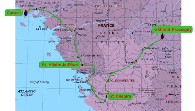 Kortet viser nogle franske lokaliteter