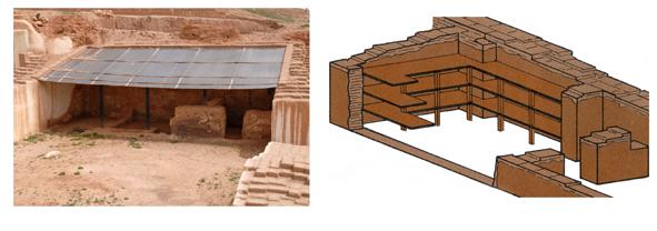 Biblioteket i Ebla, til højre en rekonstruktion.