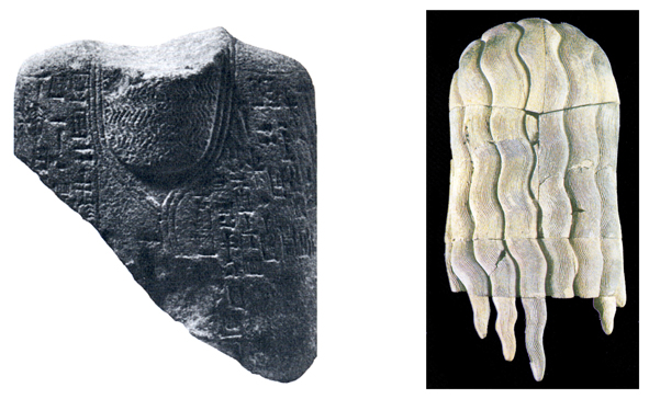 Til venstre en sfinks fra Ebla, hvor navnet Ebla er indgraveret. Til højre en hårdpragt fra en statue.