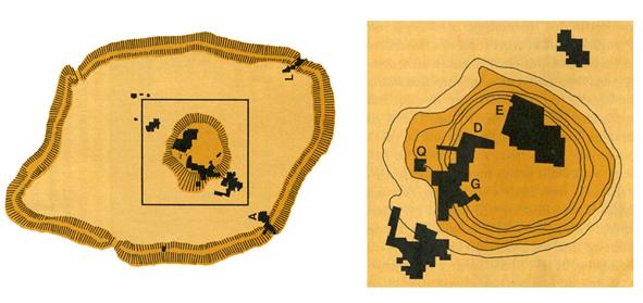 Kort over Ebla-området. Til venstre oversigt med voldanlægget og Tell Mardikh i centrum. Til højre ses Tell Mardikh forstørret med angivelser af de forskellige paladser m.m. G er det kongelige palads med biblioteket fra den første guldalder.