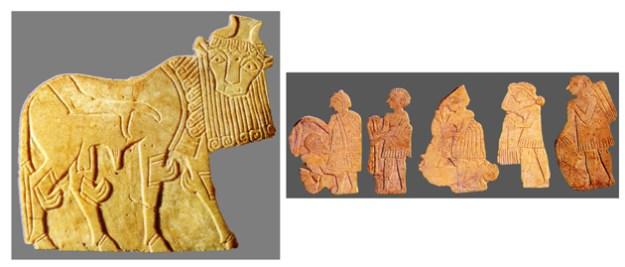 Statuetter fremstillet af tynde skiver af kalksten.