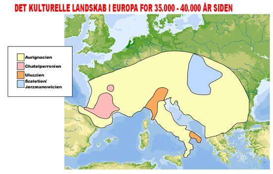 Udbredelse af Aurignacien-kulturen for ca. 40.000 år siden
