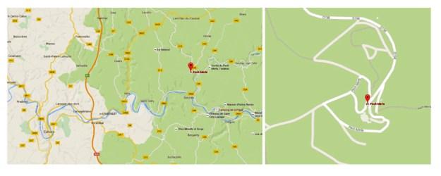 Kortet viser hulens beliggenhed i forhold til Lot-floden og Cahors