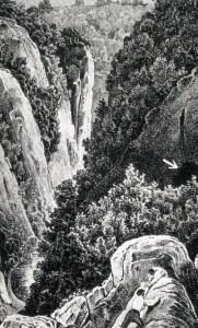 Neanderdalen i begyndelsen af 1800-tallet. Pilen peger på Feldhofer Kirche grotten; Kleine Feldhofer Grotte er uden for billedet
