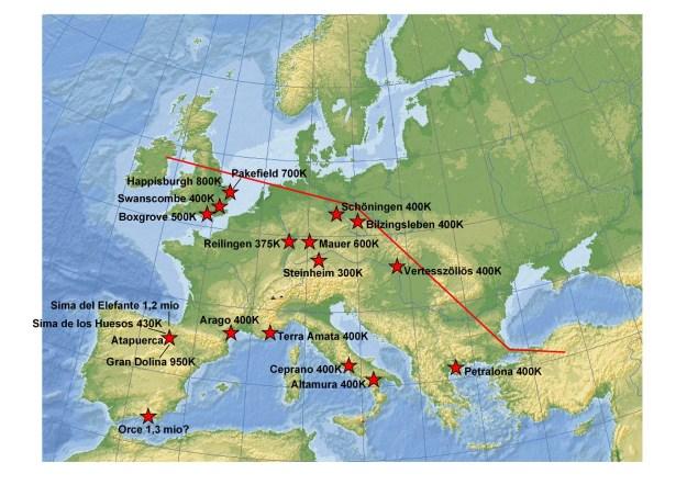 Kort, der viser udbredelsen af de ældste europæere