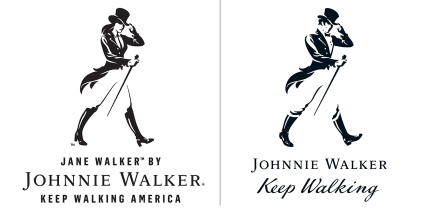 Jane Walker and Johnnie Walker, striding man and woman