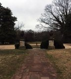 Looking toward the carriage entrance from the porch at Mount Airy.