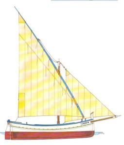 Dibujo de una 'españoleta', barca inspirada en el llaüt menorquín. Foto: Alberto Coll Arredondo.
