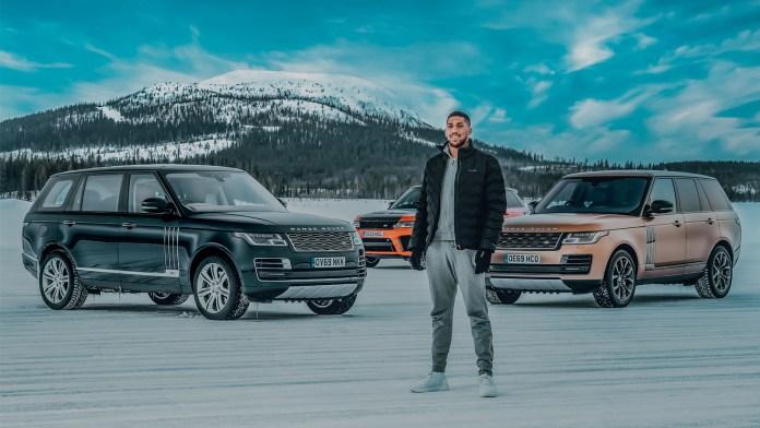 Sneeuwkunst ter ere van 50 jaar Range Rover met Land Rover en Anthony Joshua