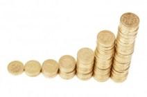 並んで積み重ねられたコイン