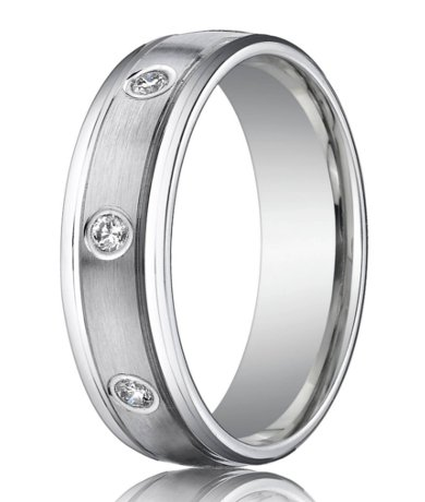 Designer Platinum Mens Ring 8 Bezel Set Diamonds