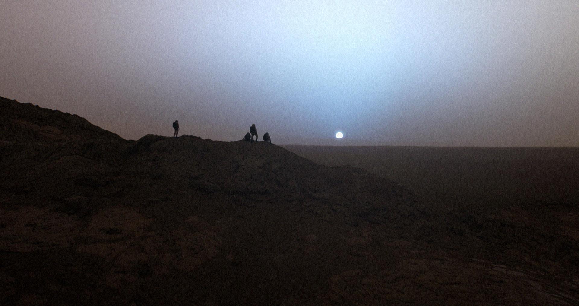 Um Pôr do Sol em Marte, baseado em Imagens reais obtidas cabelo jipe Espírito!