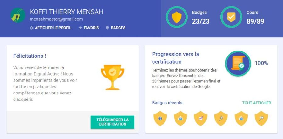mensahmaster certification tableau de bord - TOP 5 raisons de faire la certification Digital Active de Google