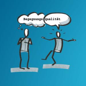 Illustration von zwei Personen im Gespräch, eine fragend, die andere antwortend