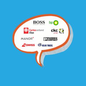 Illustration einer Sprechblase mit Logos einiger Kunden, die sich zur Zusammenarbeit äußern
