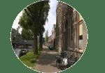 ZIcht op de Boisotkade vanaf Erfgoed Leiden
