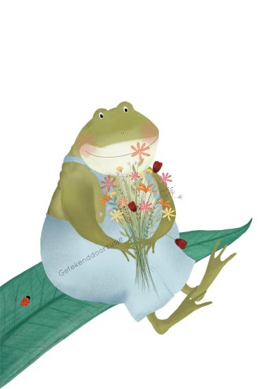 Getekend door Zusje A5 - Kikker met bloemen
