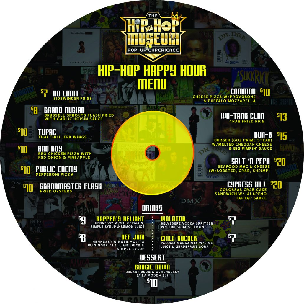 Hip Hop Museum Pop Up menu