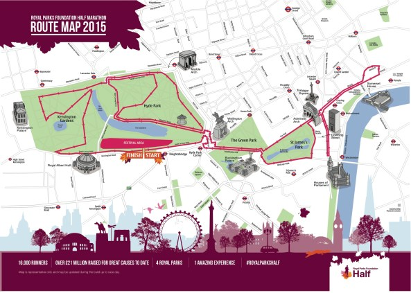 Royal Parks Foundation Half Marathon - Route 2015