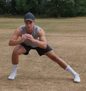 Jack Healy demonstrating the first of the mobilisation exercises, the alternating side lunge