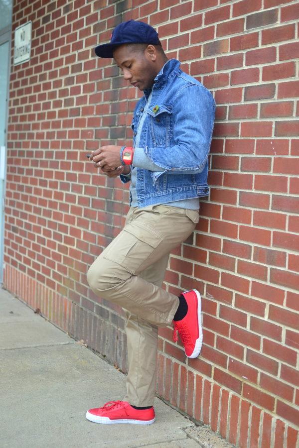 Sabir M. Peele in PF Flyers Nylon Sneakers & Nooka Watch