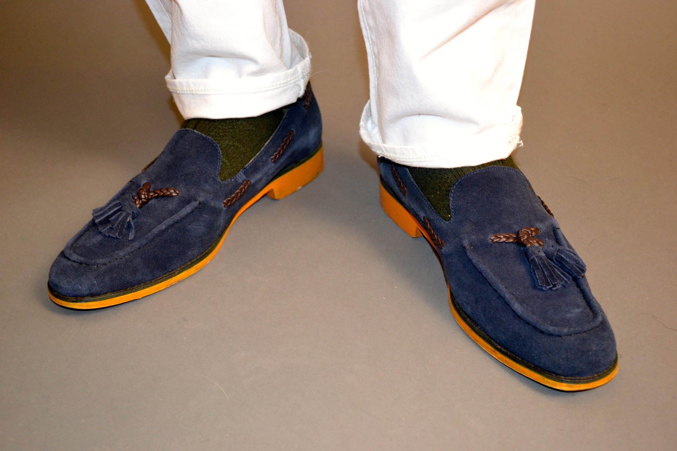 Sabir Peele in J.D. Fisk Blue Suede Loafers