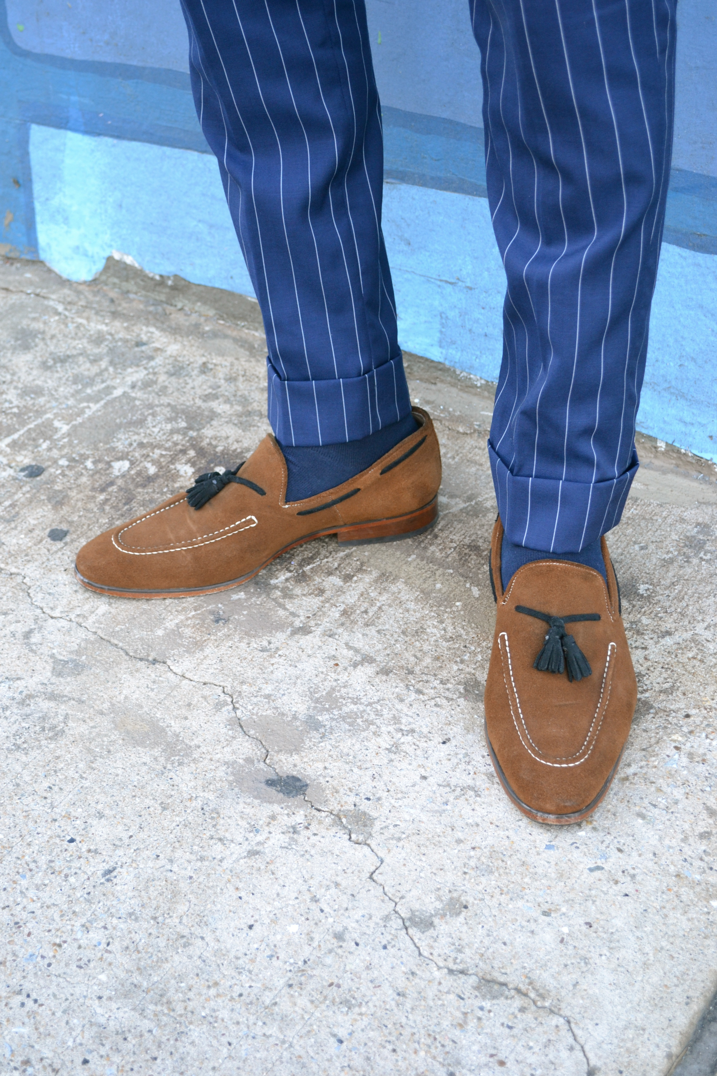 Men's Style Pro in Imparali Custom Chalk Stripe Suit and Just A Men Shoe Loafers