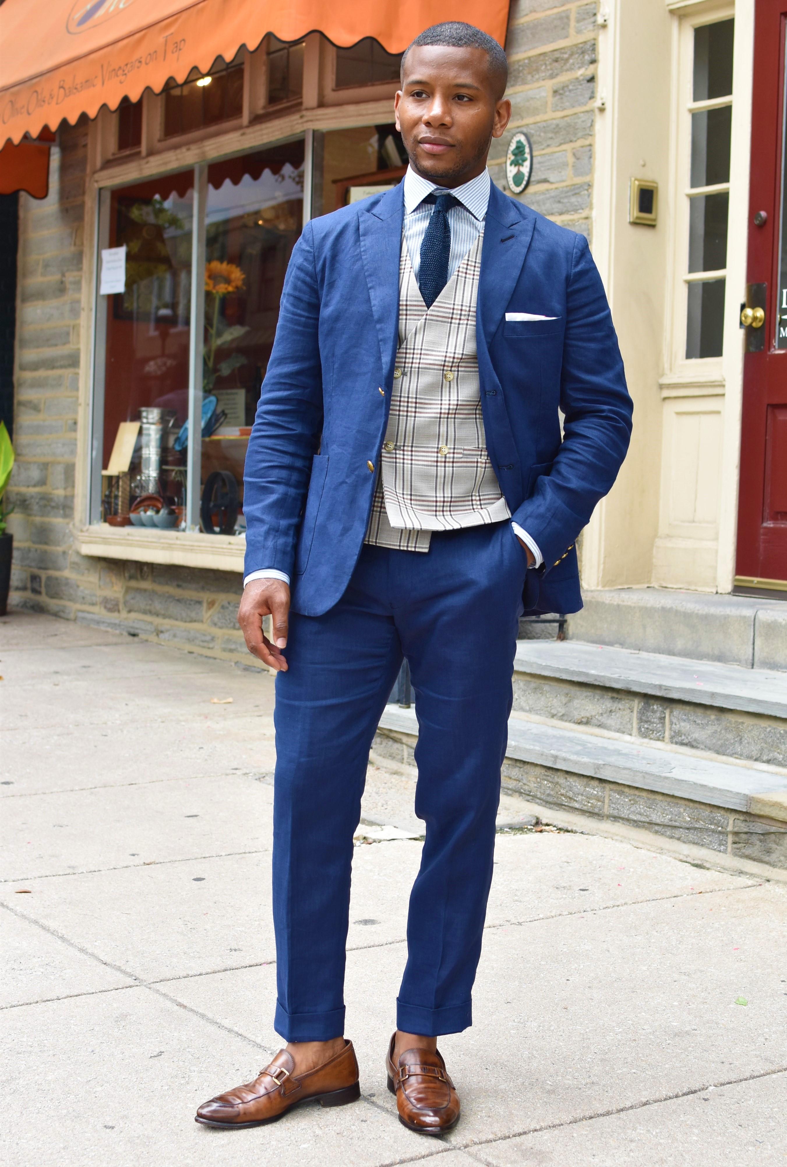 Tailor 4 Less Unlined Blue Linen Suit on Men's Style Pro