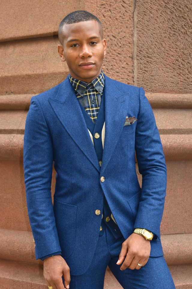 Sabir M. Peele of Men's Style Pro in Acura's Look The Part Campaign Wear Suitsupply Washington Suit