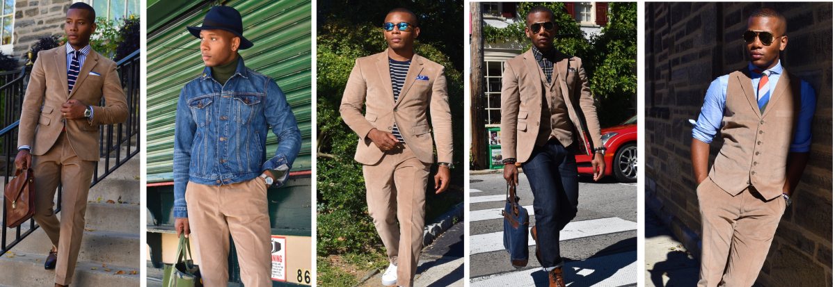 Tan Three Piece Corduroy Suit 5 Ways Pt. I