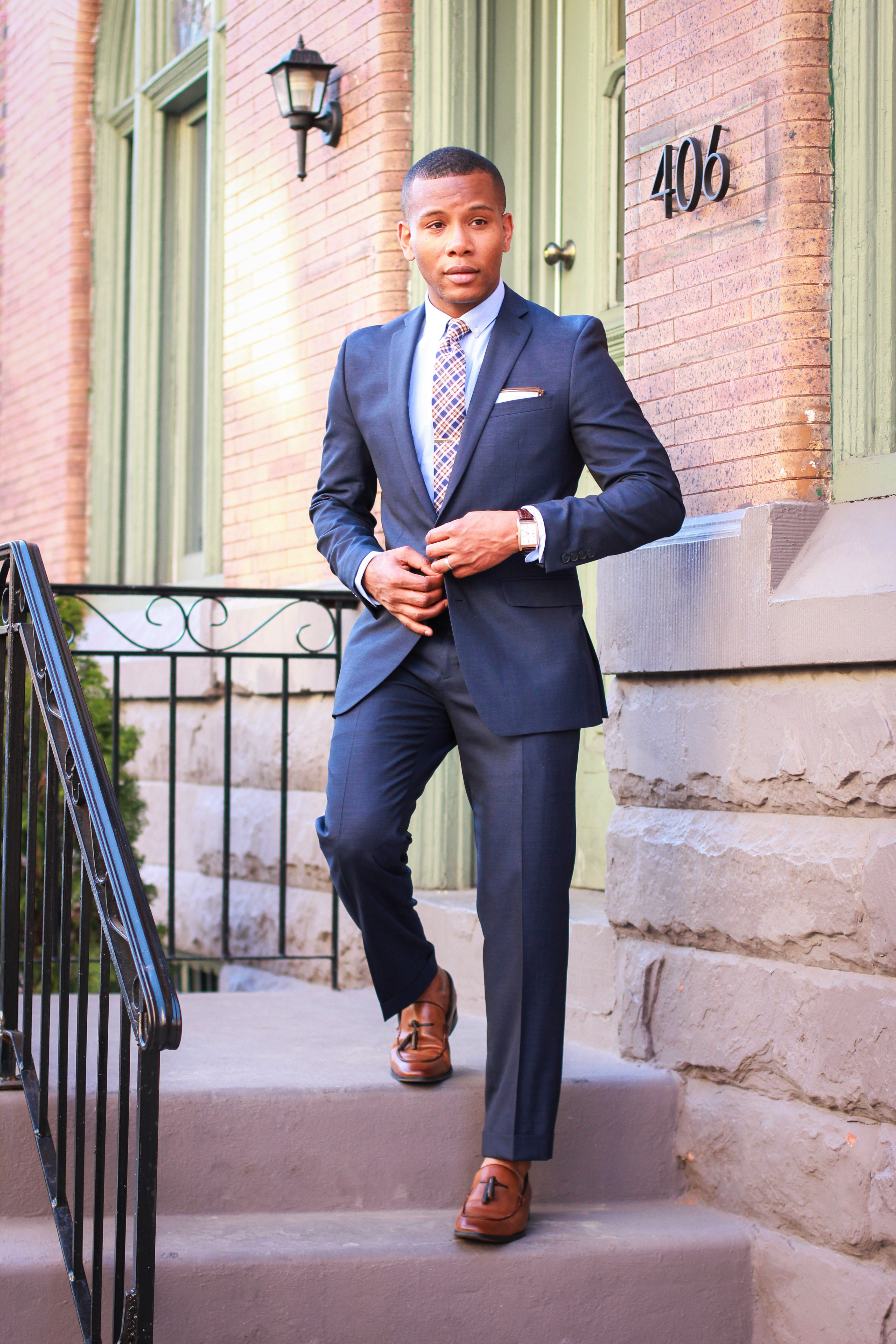 Sabir M. Peele of Men's Style Pro in Bar III Midnight Blue Suit For Macy's #Sponsored