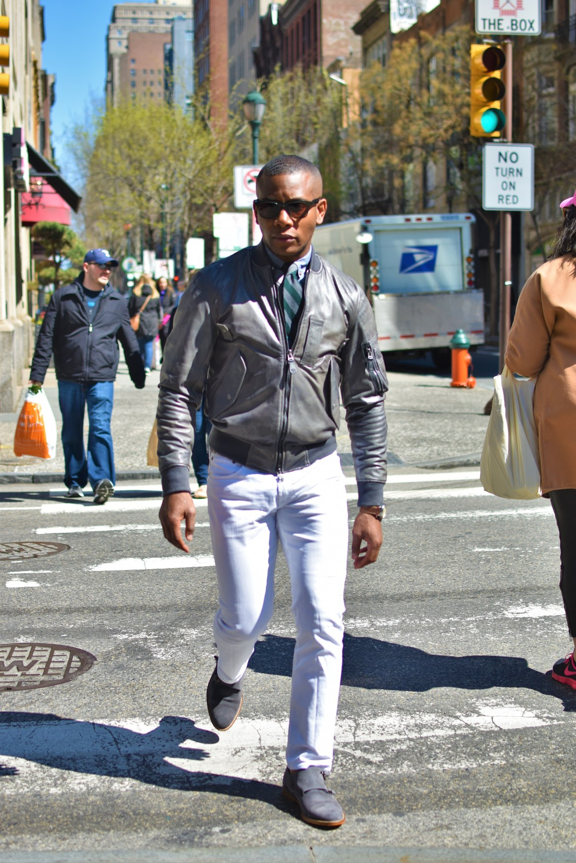 Sabir M. Peele in Grey Leather Aviator Flight Jacket from Cockpit USA