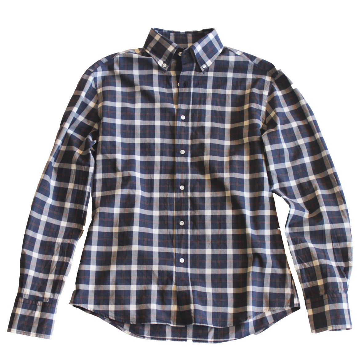 Michael Bastian Button Down Shirt - Plaid Navy - Pink - White