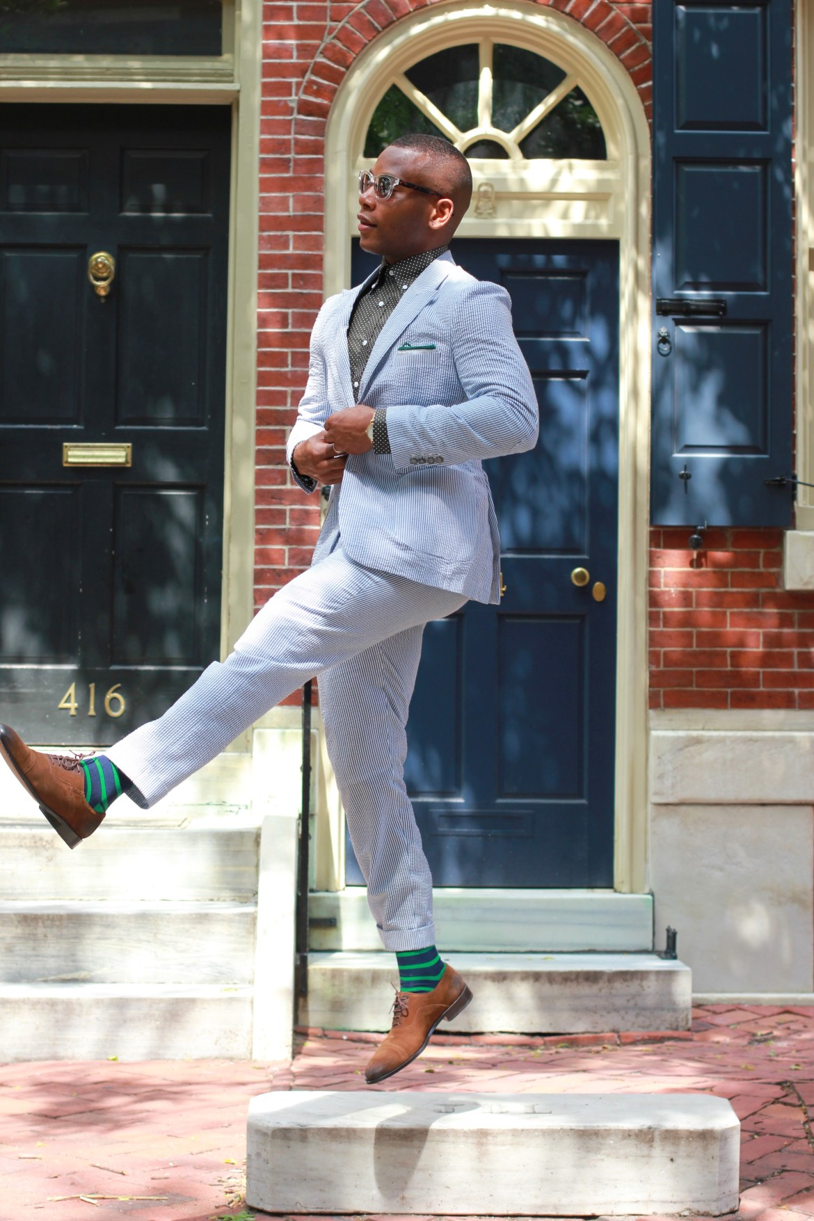 Sabir M. Peele in Tailor 4 Less Seersucker Suit