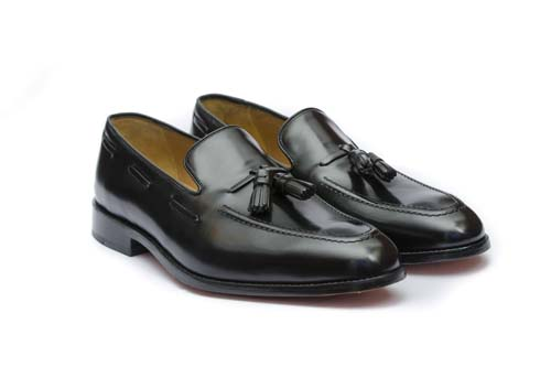 Cobble & Hyde Westminster Tassel Loafers in Black Leather
