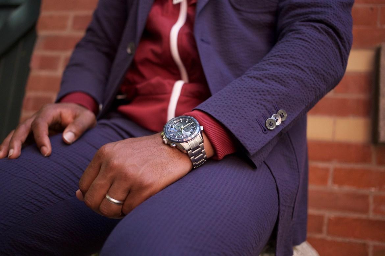 Sabir of Men's Style Pro wearing Knot Standard Blue Seersucker Suit