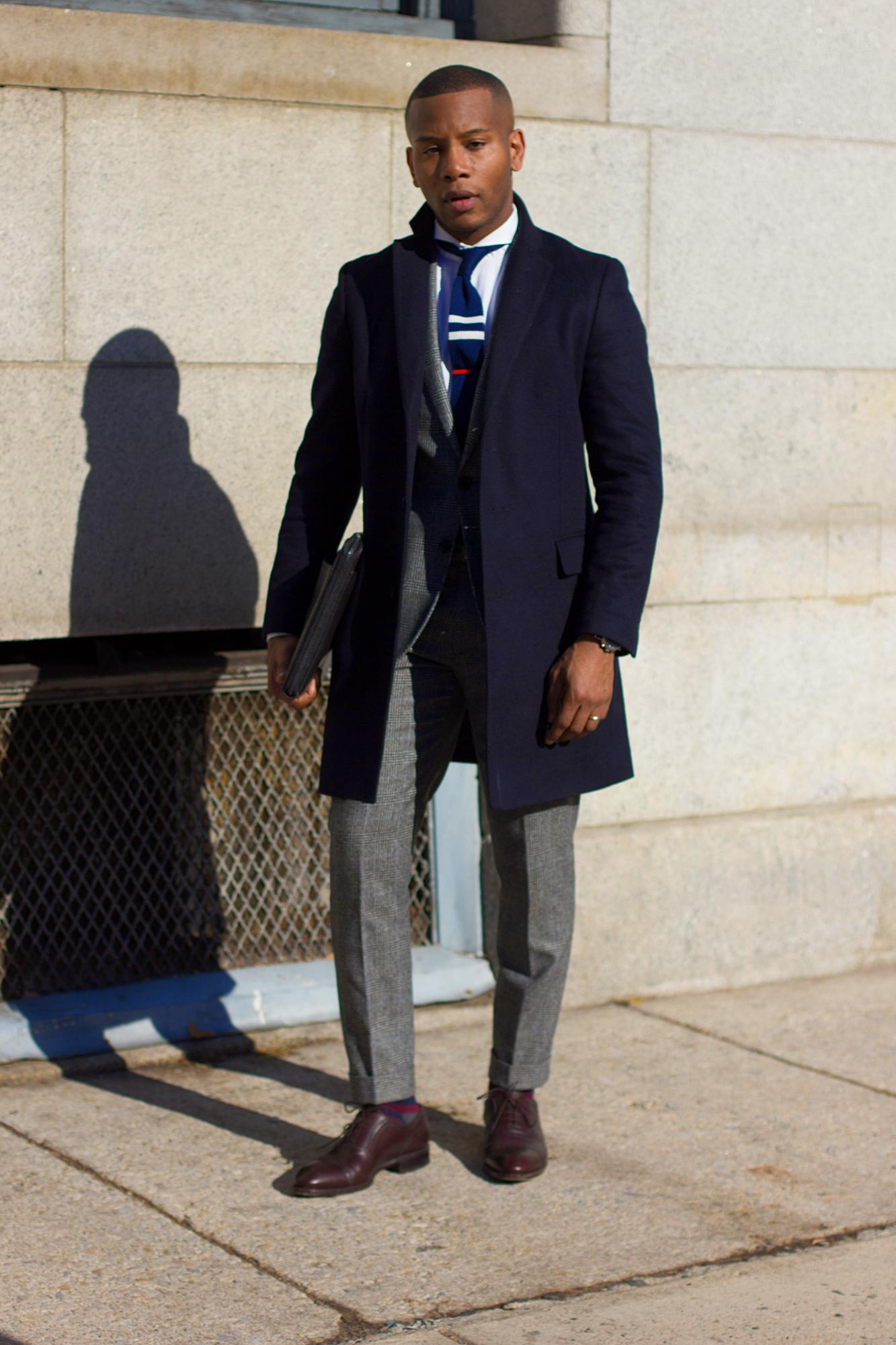 Men's Navy Topcoat Over Suit Sabir M. Peele in Uniqlo Coat