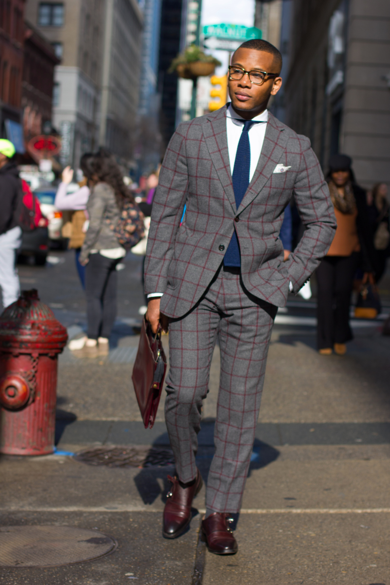 Bold Suit Style with knot standard windowpane suit on Men's Style Pro