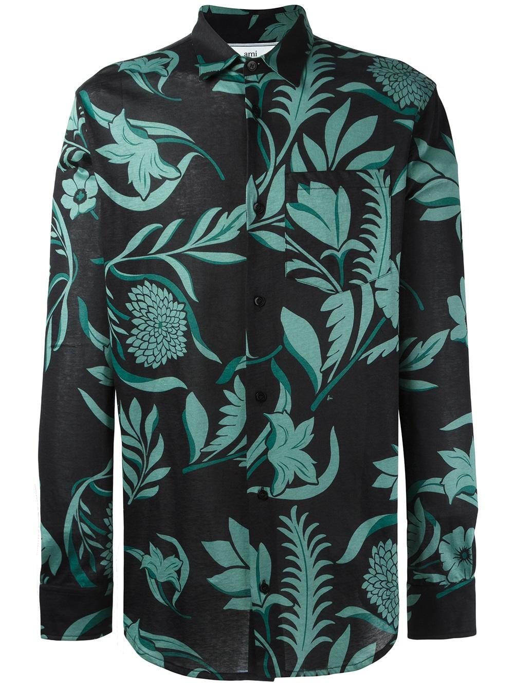 AMI Long Sleeve Black & teal floral shirt