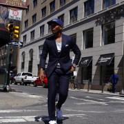 Sabir M. Peele in Damari Savile Navy Suit Off The Rack