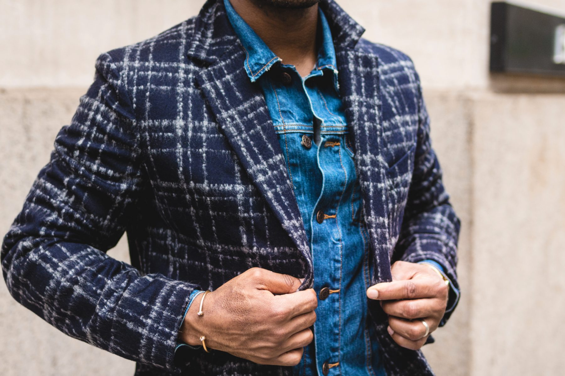 Sabir M. Peele of Men's style Pro in Hardy Amies Windowpane Topcoat