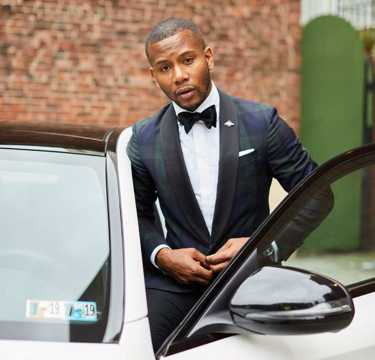 Sabir M. Peele in Hugo Boss Black Watch Plaid Blazer w/ Mercedes Benz AMG C 43