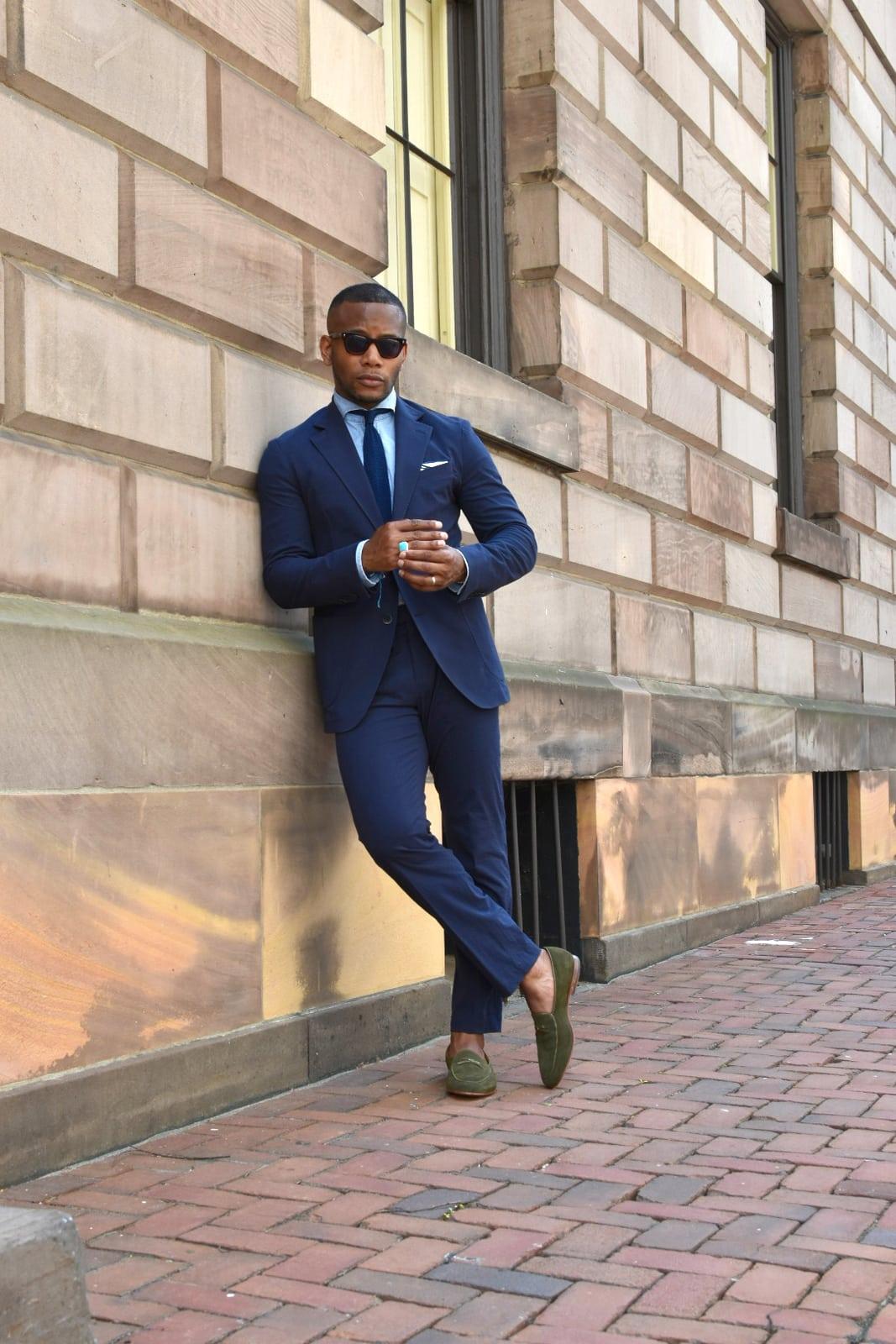 Moda Matters Navy Seersucker Suit