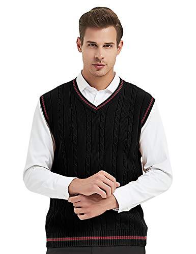 TopTie Mens V-Neck Cotton Twist Knit Sweater Vest Green and Red Trim
