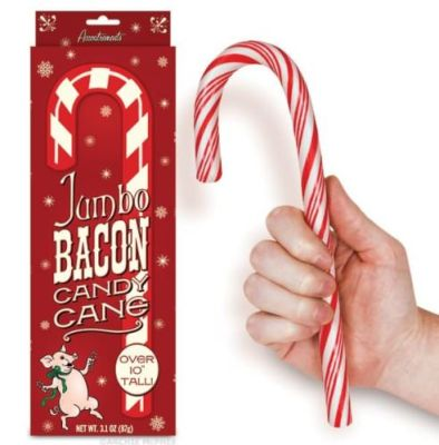 Jumbo Size Bacon Candy Cane _Stocking Stuffers for Men who are snack happy