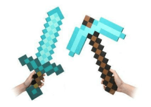 Minecraft Blue Diamond Sword & Pickaxe Set