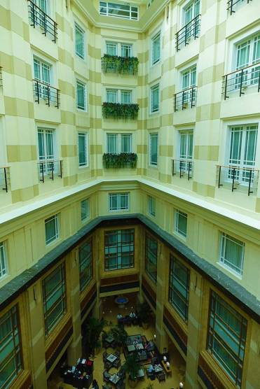 View of the courtyard Fullerton hotel Singapore